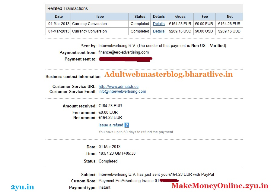 ero-advertising payment proof March 2013