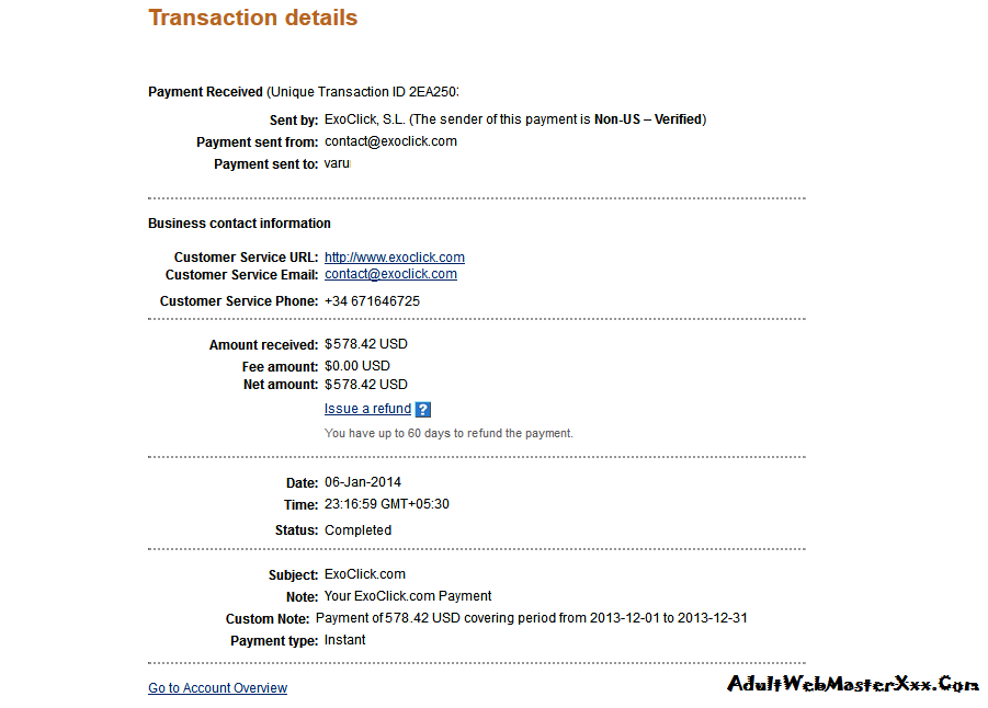 adult ads publisher payment proof 2014 jan exoclick