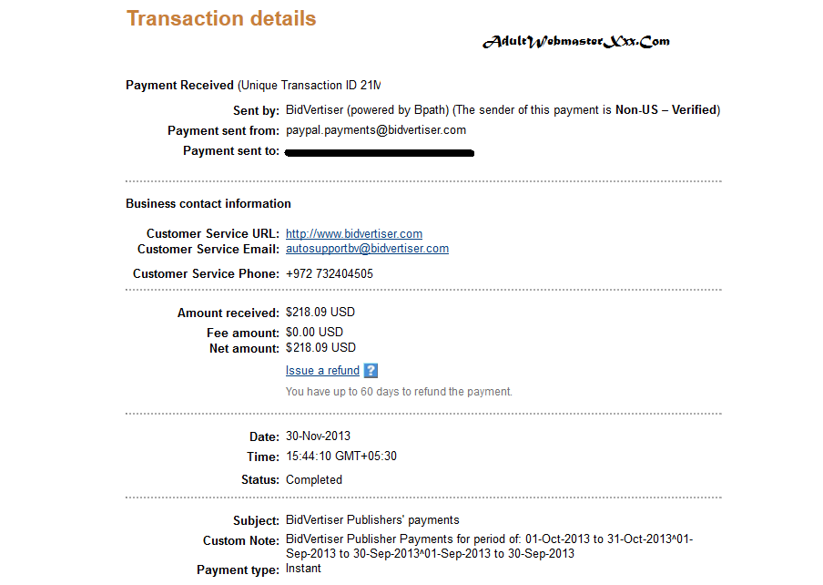 bidvertiser november payment proof