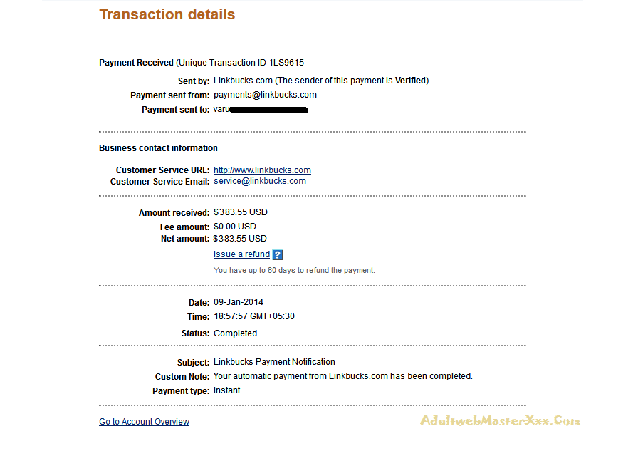 payment from linkbucks jan 2014