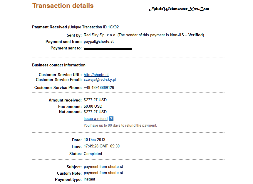 shortes payment proof december 2013