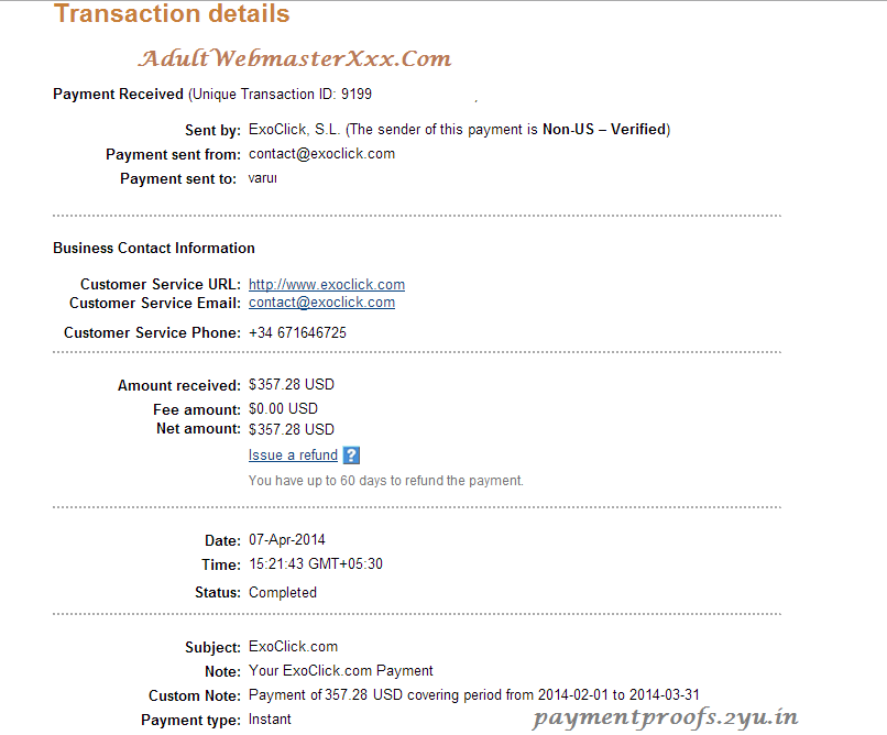 exoclick Payment - april 2014