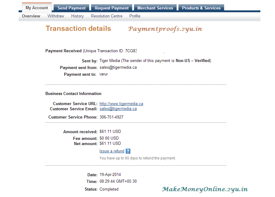 infolinks Payment - april 2014